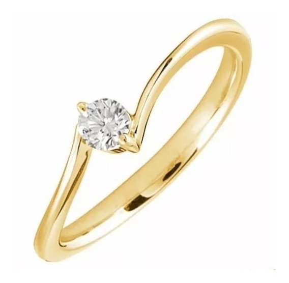 Anillo Compromiso Oro 14kt Y Diamante Natural De .10ct 3mm