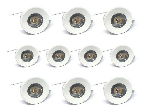 Mini Spot Led Dicróica 1w Redondo Branco Quente Kit 10