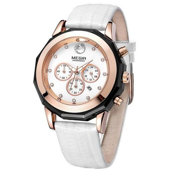 Relógio Megir 2042 Feminino Luxo Pulseira Couro Branco