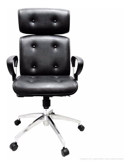 Cadeira Preta Presidente Escritório Couro Pu - Promoção