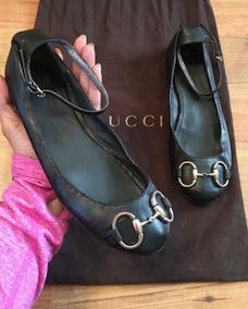 Preciosos Zapatos Flats Gucci Big Plate Ballerinas Negros!!