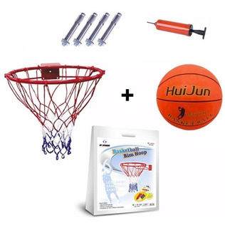 Aro De Basquetbol Basketball + Fijaciones + Malla + Balón N5