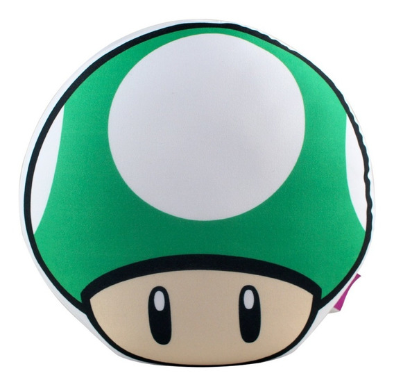 Almofada Cogumelo Vermelho Verde Vida Super Mario Nintendo