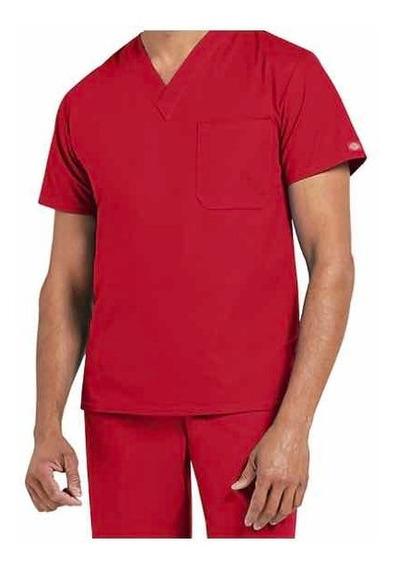 Uniforme Médico Marca Dickies Caballero Rojo Talla Mediana