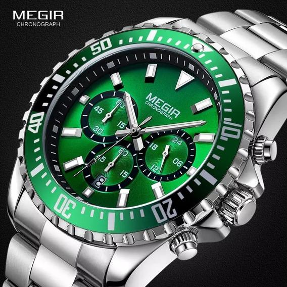 Relógio Megir 2064 Original 30 Metros Inox Verde