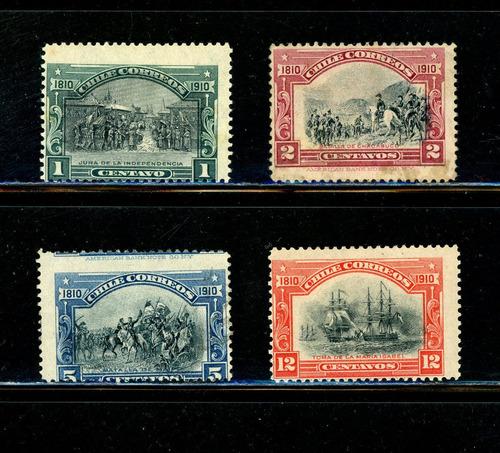 Sellos Postales Chile. Serie Centen. Independencia Nacional.