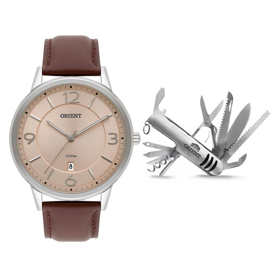 Kit Relógio Masculino Orient Mbsc1027 Kv58m2nx - Prata
