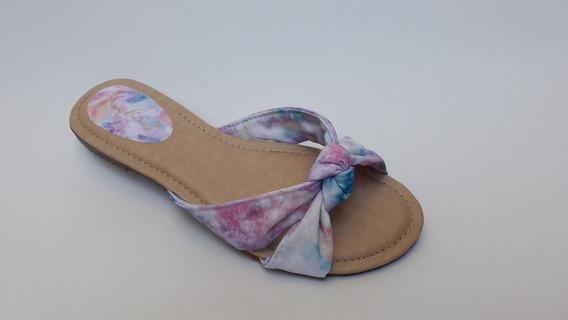 Sandália Rasteira Numeração Especial Estampa Tie Dye