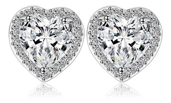 Brinco Feminino Coração Pedras Cristais Zirconias Prata C629