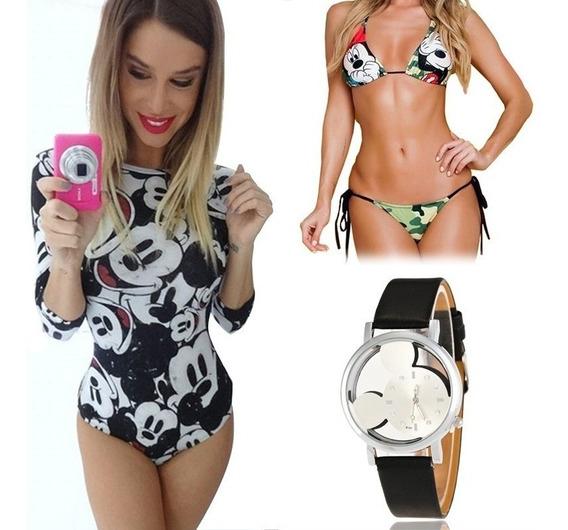 Body Mickey Feminino + Biquini Estampado + Relógio Importado