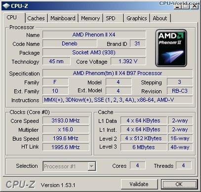 Processador Amd Skt Am2+ / Am3 Phenom Ii X4 B97 3.2 Ghz Oem