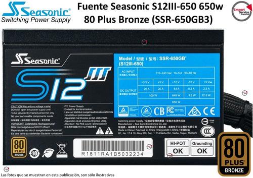 Imagen 1 de 8 de Fuente Seasonic S12iii-650 650w 80 Plus Bronze (ssr-650gb3)