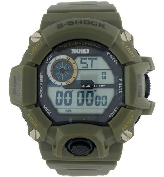 Relógio Masculino Esportivo Skmei Aprova Dágua Verde Militar Digital Resistente Natação Surf Original Shock
