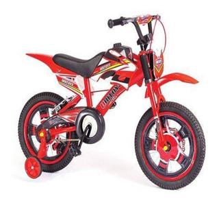 Bicicleta Infantil Aro 16 Freio A Disco Bike Moto Vermelha