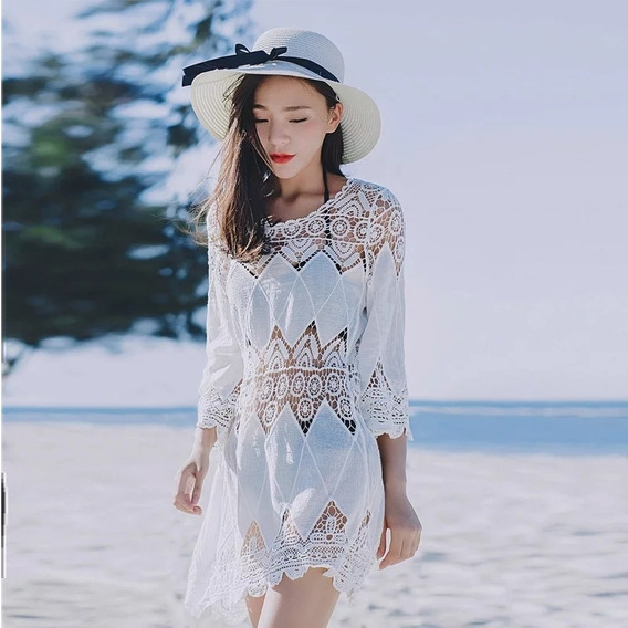 Salida De Playa Largo Piscina Moda Kimono Crochet Vacaciones