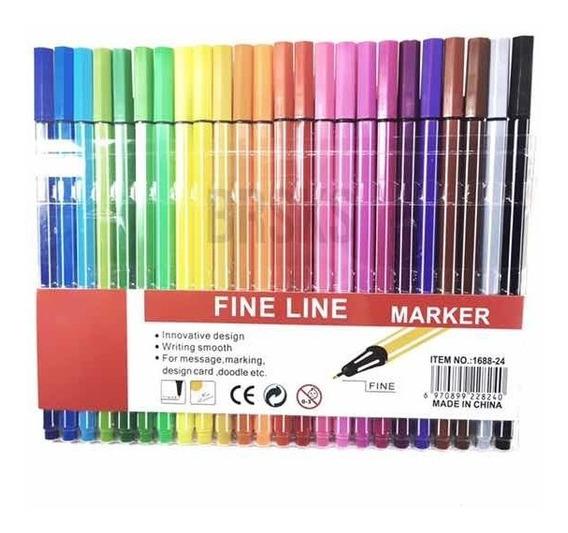 Kit 24 Canetas Coloridas Fine Pen 0.4 Escolar Ponta Fina