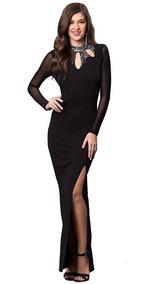 Vestido De Fiesta Negro Ajustado La Cuerpo