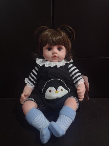 Muñeca Bebe Realista Con Sonido 47cm Peluche Y Caja Reborn