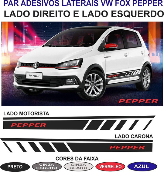 Vw Fox Pepper 2018 Par Faixas Laterais Adesivos