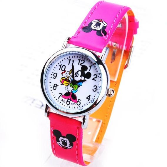 Relógio Infantil Mickey Mouse Rf020c Pink Promoção!!!