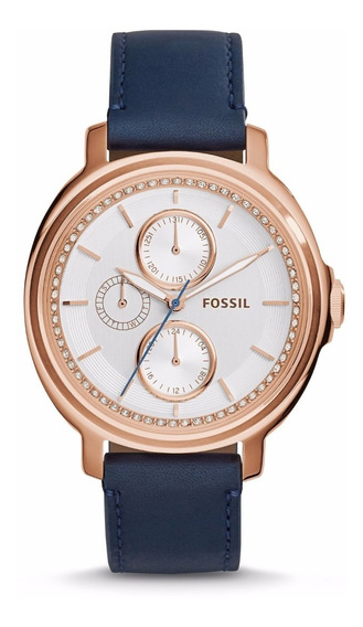 Chelsey Multifunction Navy Leather Watch- Fossil