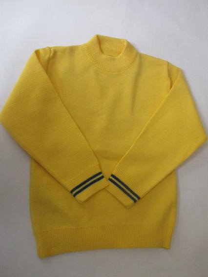 Lote Suéter Escolar Cerrado Amarillo F/azul Liso De Acrilán
