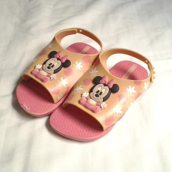Chinelo Rosa Infantil Minnie Baby Ipanema Tamanho 23/24