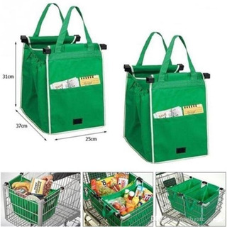 2 Bolsas Reutilizables Verde Súper Mercado Ecologicas