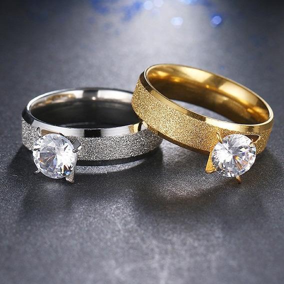 Anel Solitário Banhado Prata Ou Ouro Banhados - Inox Tam. 14