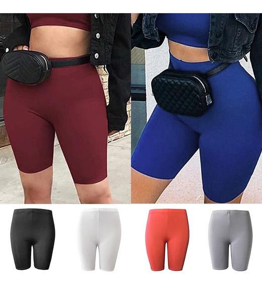 Moda Mulheres Outono Cor Sólida Bodycon Shorts Elástico Alta