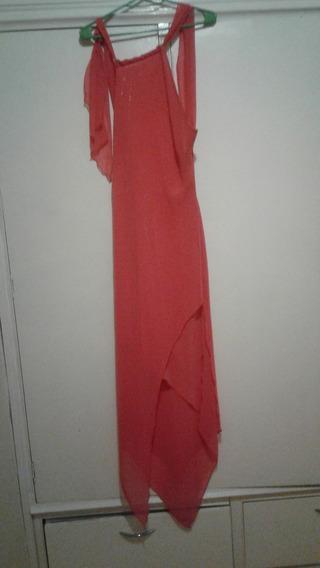 Vestido Color Coral Largo