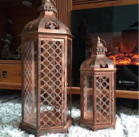 Conjunto 2 Lanterna Marroquina Grande Metal Vidro Cor Cobre