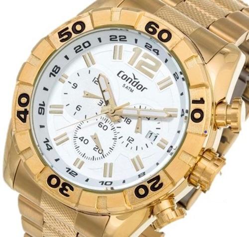 Relógio Condor Masculino Dourado Branco Civic Dual Time Covd33aa/4k Original Com Estojo
