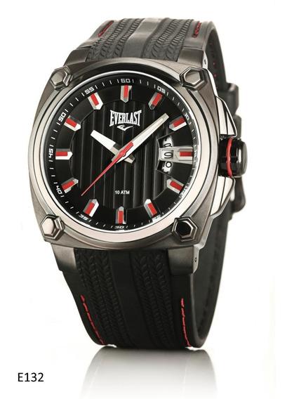 Relógio Pulso Everlast Caixa Aço E Pulseira Couro E132 Preto