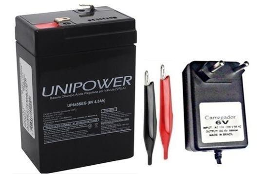Bateria E Carregador 6v 4,5ah Moto Elétrica, Brinquedo