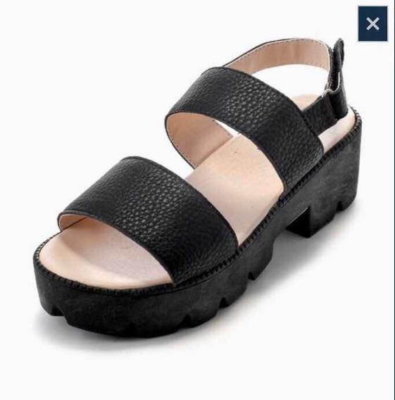 Sandalia Negra Con Plataforma. Toot. Niña/teens. Talle 35