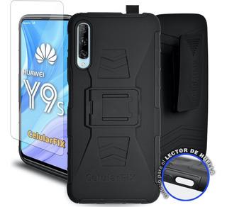 Funda Protector Huawei Y9s Uso Rudo Con Clip + Mica Cristal