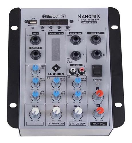 Imagem 1 de 4 de Mesa De Som Nanomix Bluetooth 4w 2 Canais Na302rbt Ll Áudio
