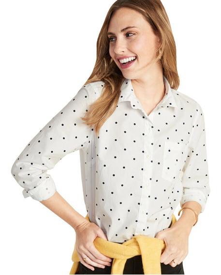 Camisa Dama Blusa Clásica Mujer Manga Larga Puntos Old Navy