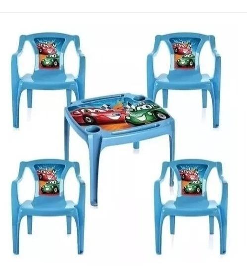 Conjunto Mesinha Mesa Com 4 Cadeira Escolar Menino Infantil