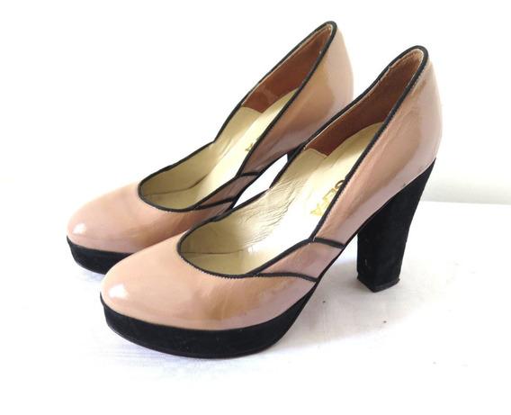 Zapatos Cuero Rosa Ribete Negro Maria Josefa 38
