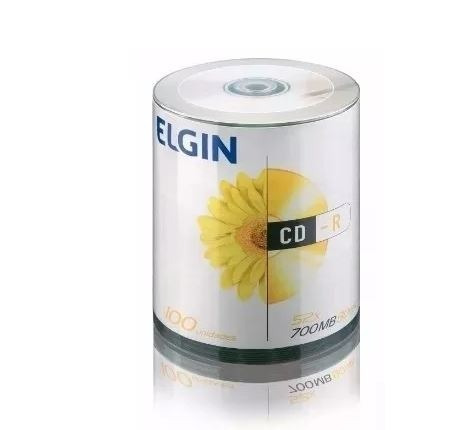100 Cd-r Elgin Com Logo +100 Capas Envelope Branco Cd E Dvd