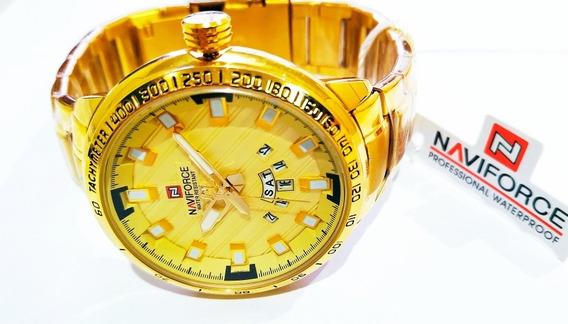 Relógios Naviforce Masculino Luxo Dourado Militar Grande