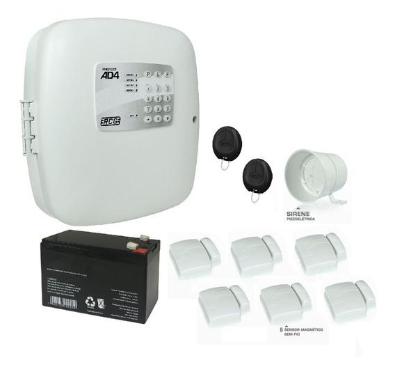 Kit Alarme Residencial Casa Comercial Sem Fio 6 Mag Bateria