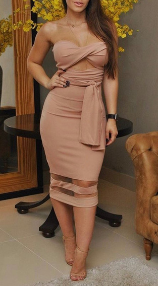 Blusa Feminina Cropped E Saia Midi Blogueira Decote #cj14