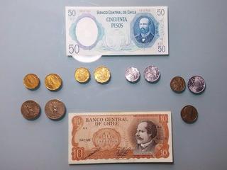 Lote #2 Billetes Y Monedas Dictadura Chile Pinochet