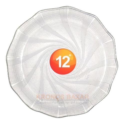 Imagen 1 de 5 de Set X 12 Platos Durax Cosmos Playo Plato Vidrio Por Docena