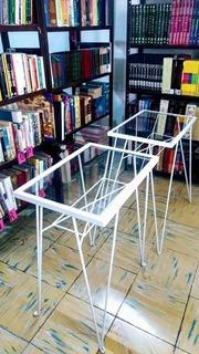 Mesas Vintage De Centro De Metal Y Cristal Negro/blanco