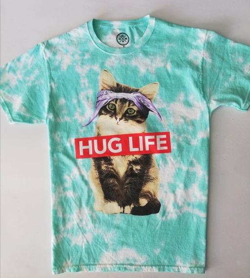 Playera Dom Original Hug Life Gatito Cat Verde Claro