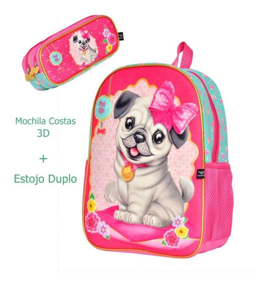 Mochila Cachorrinho Pug + Estojo De Lapis 3d Santino